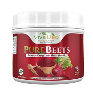 PureBeets 100% Organic Pure Beet Root Powder Beetroot Nitric Oxide Supplement Viva Deo (17.5 oz, 78 Servings)