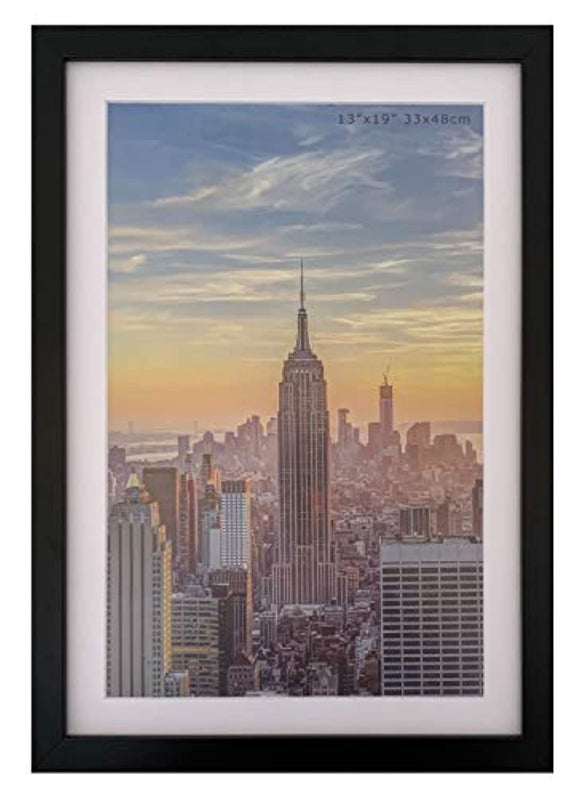 Frame Amo 13x19 Black Picture Frame, White Mat for 11x17 Image, 1 Inch Border, Acrylic Front (1)
