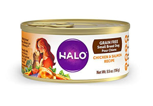 Halo Grain Free Natural Wet Dog Food, Small Breed Chicken & Salmon Recipe, 5.5-Ounce Can (Pack Of 12)