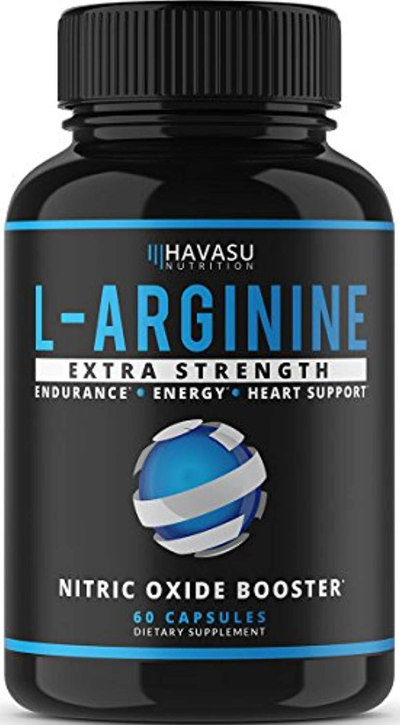 Extra Strength L Arginine - 1200mg Nitric Oxide Supplement for Muscle Growth, Vascularity & Energy 60 Capsules