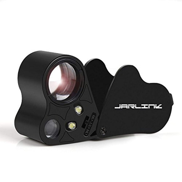 JARLINK 30X 60X Illuminated Jewelers Eye Loupe Magnifier, Foldable Jewelry Magnifier