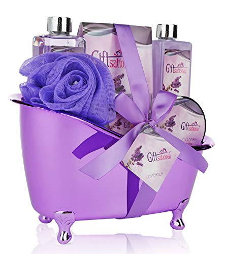 Spa Gift Basket Lavender Fragrance, Cute Tub-Shaped Holder With Bath Accessories - Includes Shower Gel, Bubble Bath, Bath Salts, Bath Bombs & more!