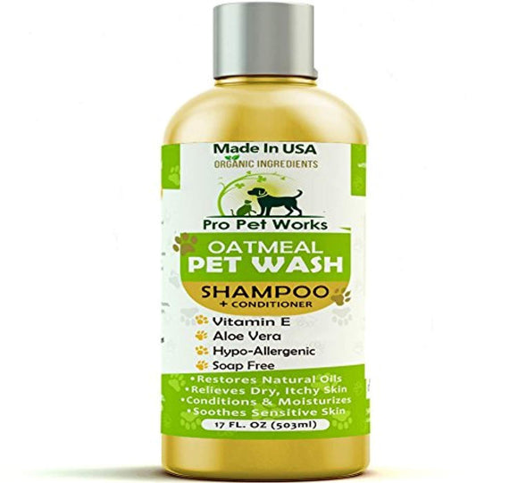 Pro Pet Works All Natural Oatmeal Dog Shampoo + Conditioner for Dogs, Cats and Small Animals-Hypoallergenic and Soap Free