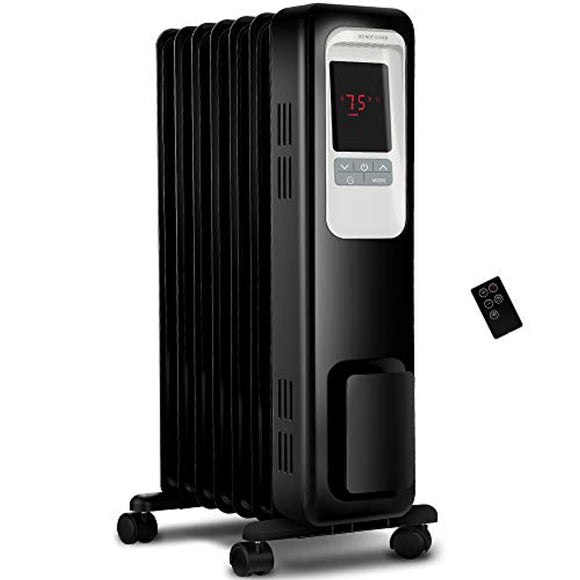 Aikoper Space Heater, 1500W Oil Filled Radiator heater with 24-Hours Timer, Remote Control, Digital Thermostat