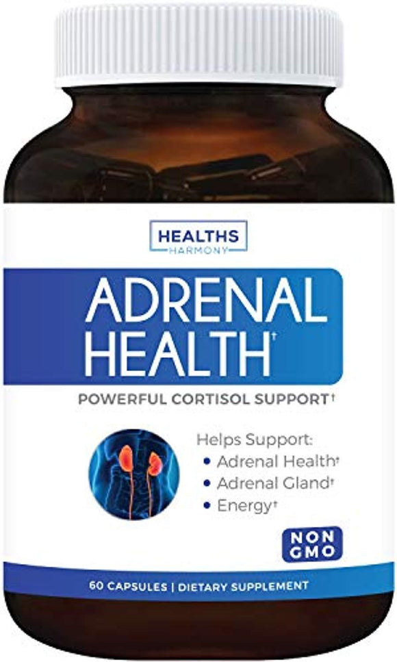 Adrenal Support & Cortisol Manager (Non-GMO) Powerful Adrenal Health with L-Tyrosine & Ashwagandha  - 60 Capsules
