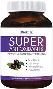 Super Antioxidant Supplement | Powerful Super Food Antioxidants Blend | Acai Berry, Goji Berry, Pomegranate & Trans Resveratrol 60 Capsules