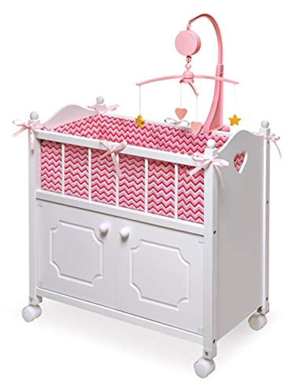 Badger Basket Cabinet Doll Crib with Chevron Bedding, Musical Mobile, Wheels, and Free Personalization Kit