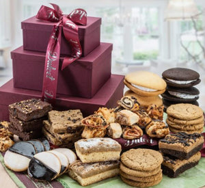 Dulcet 3 Tier Gift Basket Tower Includes: Walnut Brownies, Chocolate Chip Blondies, Black and White Cookies, Crumb Cakes & more...