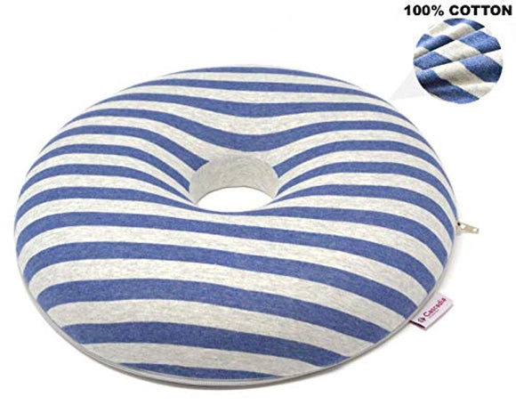Cascadia Essentials Donut Pillow Hemorrhoid Cushion w/ 100% Cotton Cover
