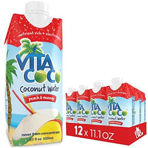 Vita Coco Coconut Water, Peach Mango - Smart Alternative to Coffee, Soda, and Sports Drinks - Gluten Free - 11.1 Ounce (Pack of 12)