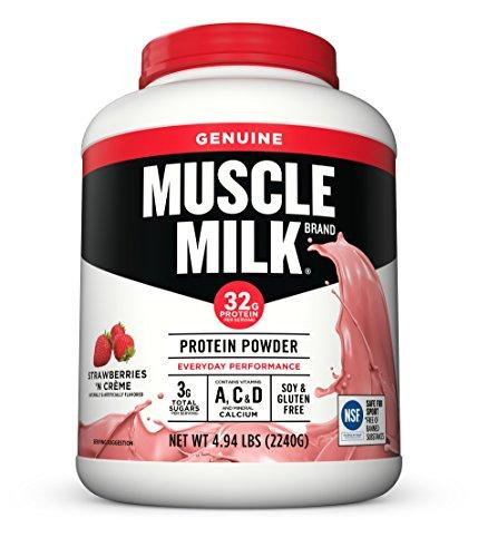 Muscle Milk Genuine Protein Powder, Strawberries 'N Crème, 32g Protein, 4.94 Pound