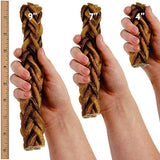 Monster Braided Bully Stick for Dogs (8 Pieces Per Stick!) Natural Low-Odor Jumbo Dog Dental Treats, Best XL Thick Pizzle Chew Stix