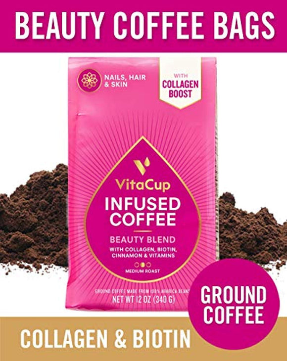 VitaCup Beauty Blend Ground Coffee Bags 12oz with Collagen, Biotin, Folic Acid, Cinnamon | Keto | Paleo | Whole30 |