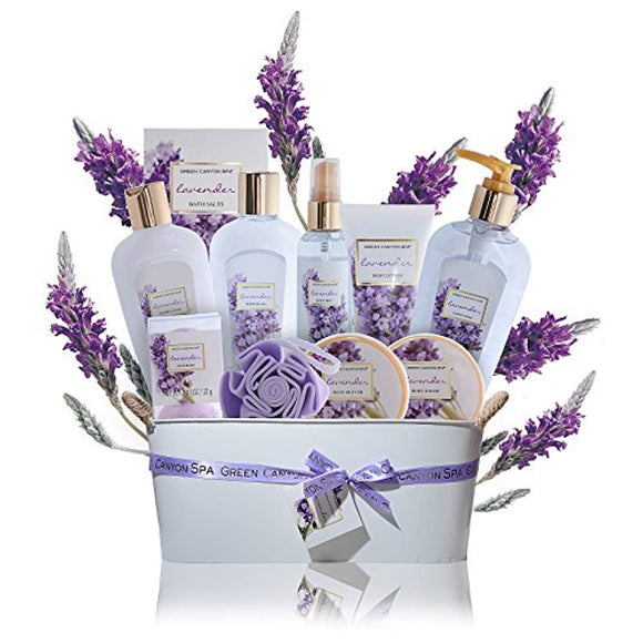 Spa Gift Baskets for Women Lavender - #1 Lush mothers day gift set in essential oils for Relaxation -11 Pcs At Home Spa Kit