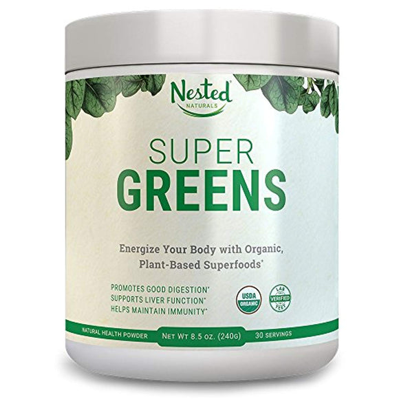 SUPER GREENS Green Veggie Superfood Powder 30 Servings 20+ Whole Foods (Wheat Grass, Spirulina, Chlorella), Probiotics, Fiber & Enzymes