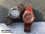 WONBEE Bamboo Wood Watches Infinity Design with Cowhide Leather Strap Unisex