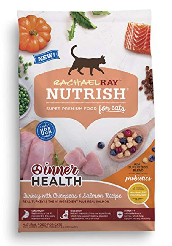 Rachael Ray Nutrish Inner Health Natural Dry Cat Food, Turkey With Chickpeas & Salmon Recipe, 14 Lbs