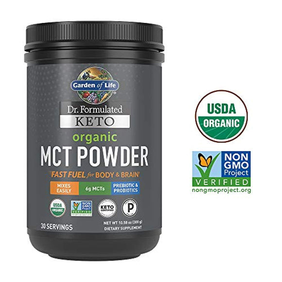 Garden of Life Dr. Formulated Keto Organic MCT Powder - 30 Servings, 6g MCTs from Coconuts Plus Prebiotic Fiber & Probiotics
