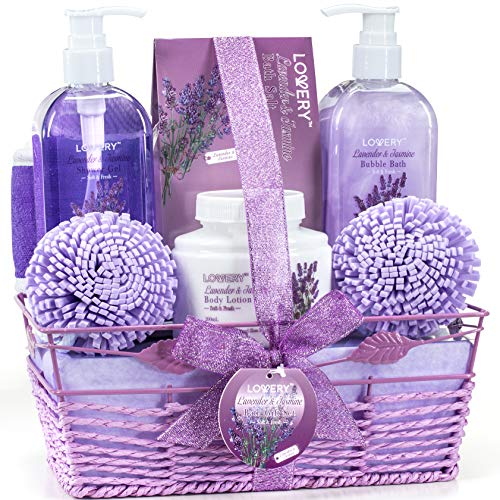 Bath and Body Gift Basket For Women and Men – Lavender and Jasmine Home Spa Set with Body Lotions, Bubble Bath, Bath Salt and Much More