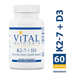 Vital Nutrients - K2-7 + D3 - Bone and Artery Health Support - 60 Capsules per Bottle