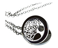 "Tree Of Life Essential Oil Diffuser Necklace Stainless Steel Locket Pendant with 24"" Chain+ 4 Essential Oils (Lavender, Peppermint, Inner Calm, Zen) Gift Set"
