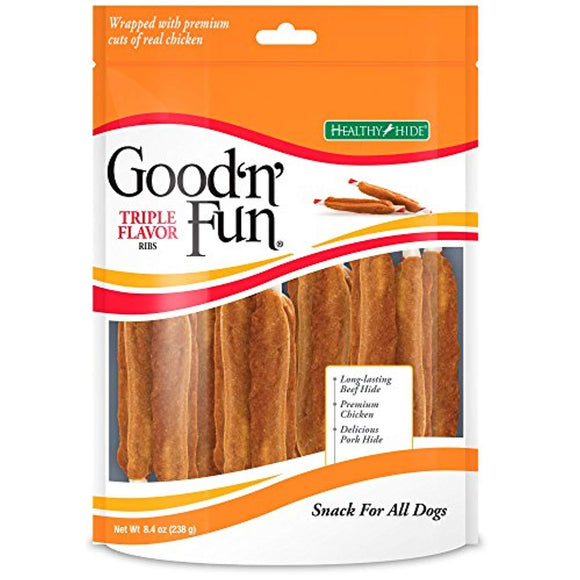 Good'N'Fun Triple Flavored Rawhide Ribs For Dogs, 8.4 Oz