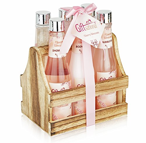 Spa Gift Basket with Cherry Blossom Fragrance, Wooden Cabinet with 6 Bottles, Includes Shower Gel, Bubble Bath, Body Lotion & more!