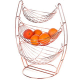 3 Tier Chrome Triple Hammock Fruit/Vegetables/Produce Metal Basket Rack Display Stand