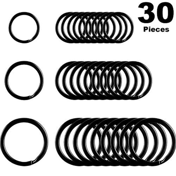 Round Flat Key Chain Rings Metal Split Ring for Home Car Keys Organization, 30 Pieces (Black)