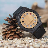 BOBO Bird Men's Bamboo Wooden Watch with Black Cowhide Leather Strap 12 Holes Timer Design Sports Casual Watches