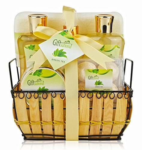 Spa Gift Basket with Rejuvenating Green Tea Fragrance, Great Christmas Gift - Spa Bath Gift Set Includes Bubble Bath, Bath Salts, Bath Bombs and More!
