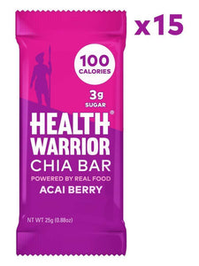 HEALTH WARRIOR Chia Bars, Gluten Free, Vegan, 25g bars, 15 Count