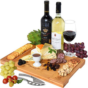 Unique Bamboo Cheese Board, Charcuterie Platter & Serving Tray for Wine, Crackers, Brie and Meat. Large & Thick Wooden Server