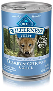 Blue Buffalo Wilderness High Protein Grain Free, Natural Puppy Wet Dog Food 12.5-Oz Cans Pack of 12