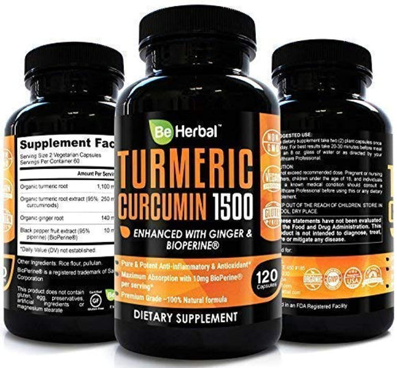 BE HERBAL Organic Turmeric Curcumin with Bioperine 1500mg - The Most Potent Turmeric Curcumin Supplement with 95% Standardized Curcuminoids