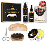 Beard Kit for Men Grooming & Care W/Beard Wash/Shampoo,Unscented Beard Growth Oil,Beard Balm Leave-in Conditioner
