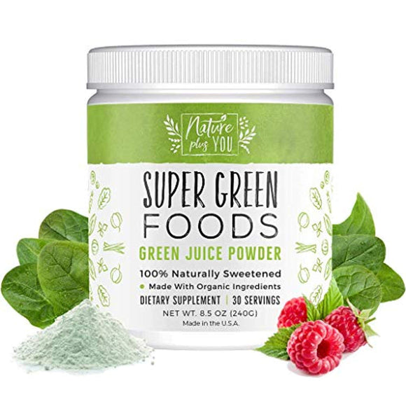 Superfood Greens Powder: Made with Organic Ingredients and 100% Natural Sweeteners, with Spirulina, Alfalfa, Spinach, Acai, Probiotics
