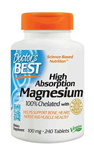 Doctor's Best High Absorption Magnesium Glycinate Lysinate, 100% Chelated, 100 mg, 240 Tablets (packaging may vary)