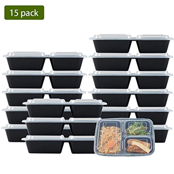 Nutribox [15 pack] 32oz 3 compartment Plastic Food storage Containers with lids