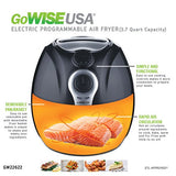 GoWISE USA 3.7-Quart Dial Air Fryer + 50 Recipes for your Air Fryer (Black (Dial))