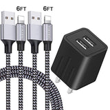 iPhone Charger, YOKERSU Fast Charging 2Pack 6Ft Nylon Braided Lightning Cable Data Sync Transfer Cord