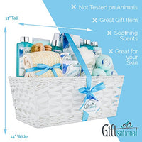 Ocean Bliss Extra Large Spa Bath Gift Basket | Includes 3 Bath Bombs, Shower Gel, Bubble Bath, Lotion, Scrub, Pumice Brush, Glass Candle, Slippers, Massage Stick & 5 More Items
