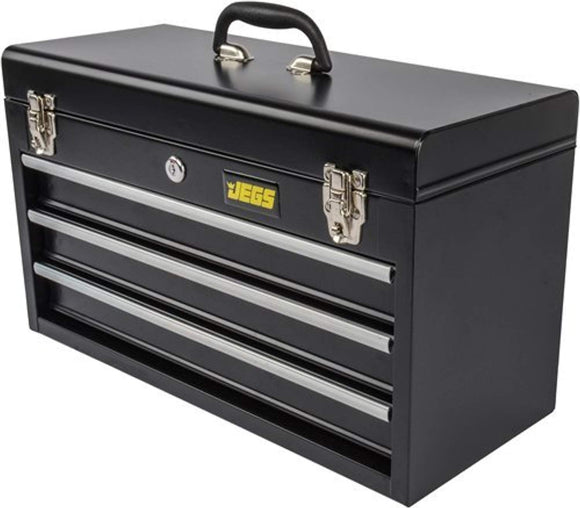 JEGS 81400 Black 3 Drawer Professional Tool Box for Garag