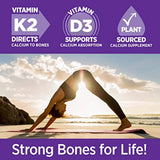 Calcium Supplement with Vitamin K2 + D3 - Bone Strength Clinical Strength Plant Calcium with Vitamin D3 + Magnesium  - 120 ct Slim Tabs