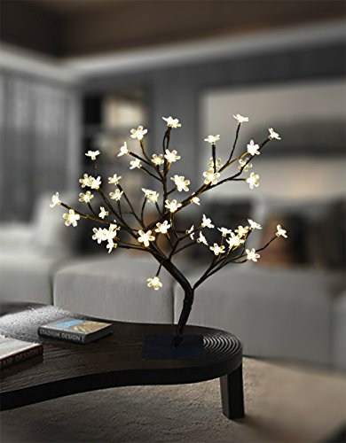 Lightshare 18 Inch Cherry Blossom Bonsai Tree, 48 LED Lights, Warm White Lights, Ideal as Night Lights, Home Gift Idea