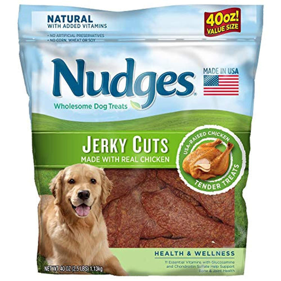 Nudges Health and Wellness Chicken Jerky Dog Treats, 40 oz (2 Packs)