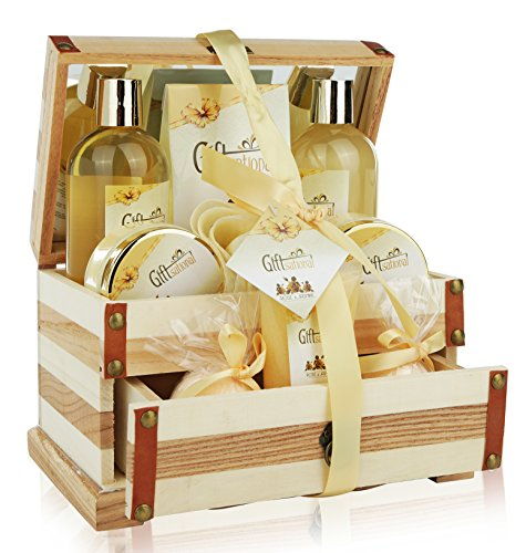 Spa Gift Basket Refreshing Rose & Jasmine Fragrance, Beautiful Wooden Gift Box with Mirror, Bath gift Set Includes Shower Gel, Bath Bombs and More!