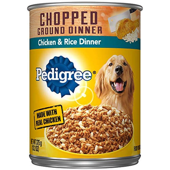 Pedigree Chopped Ground Dinner Adult Wet Canned Dog Food Chicken & Rice