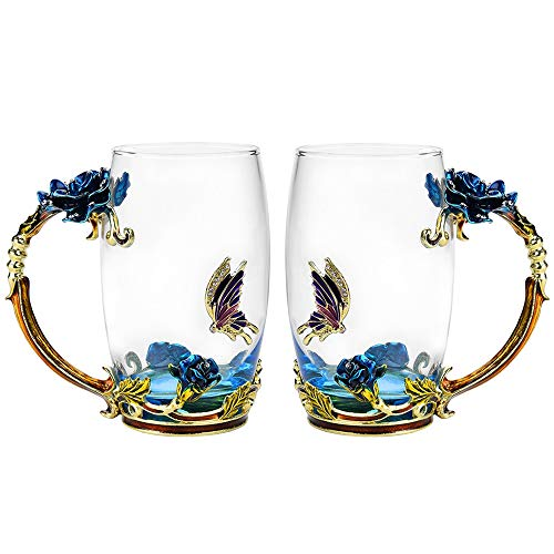 Glass Tea Cup Set [2-Pack], 12oz Lead-Free Butterfly and Blue Rose Flower Tea Mug with Handle, Unique Gift Ideas for Women