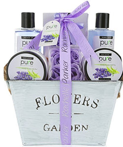Lavender Essential Oil Aromatherapy Mothers Day Spa Basket. Premium Gift Basket for Women for Birthday, Thank You, Anniversary Gift and to Treat Yourself! Gardener Gift Basket!